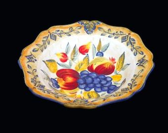 Vintage Tuscan Fruit Blue large pasta or salad serving bowl.  Multicolor fruit, embossed rim, blue edge. Designed by Pamela Gladding.