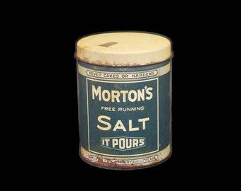 Antique (1910s) Morton's Salt When It Rains It Pours original tin with faux spout and the iconic Morton's Salt girl logo.