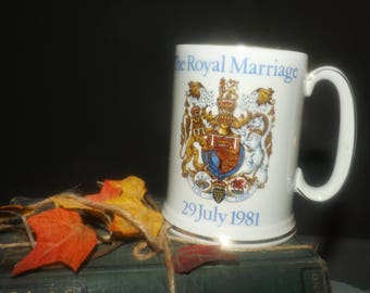 Vintage (1981) Commemorative stein celebrating the Royal Marriage of HRH Prince Charles and Lady Diana Spencer. Wood & Sons England.