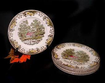 Mid-century Royal China Fairoaks | Fair Oaks dinner plate made in USA. Sold individually.
