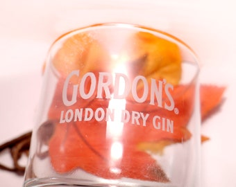 Vintage (1980s) Gordon's London Dry Gin lo-ball, scotch whisky, old-fashioned glass. Etched-glass branding.