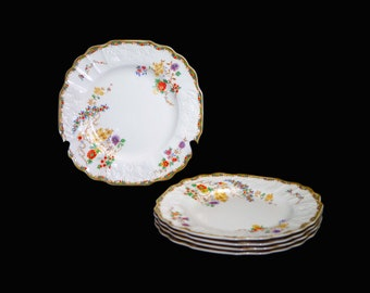 Art deco vintage (1930s) Myott Sunshine Susie square salad or side plate made in England. Sold individually.