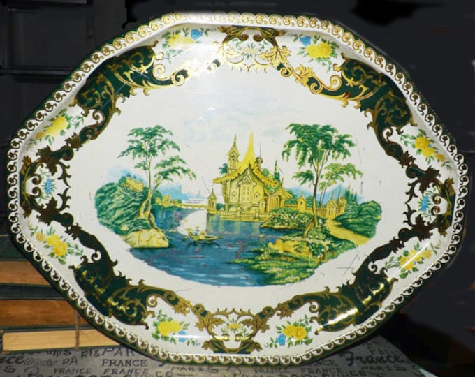 Mid-century Daher Decorated Ware octagonal metal tray. Chinoiserie   Oriental theme palace, trees, boat and stream