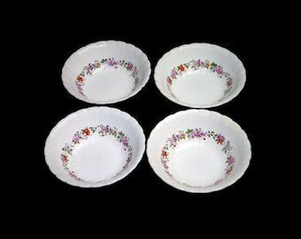 Set of four vintage (1930s) Simpsons Potters SIM6 cereal bowls. Solian Ware ironstone made in England. Flaws (see below).