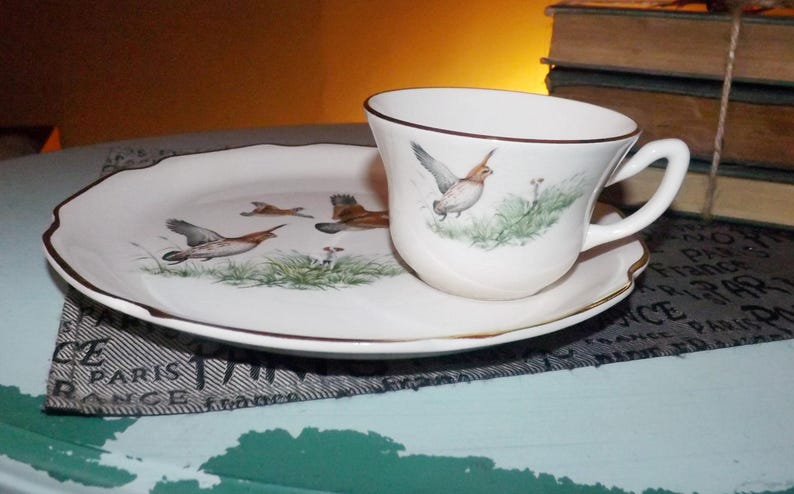 Mid-century (1950s) Georgian China USA Game Bird series snack | tennis set  (plate with cup)  Scalloped, gold edge  Pheasant in flight