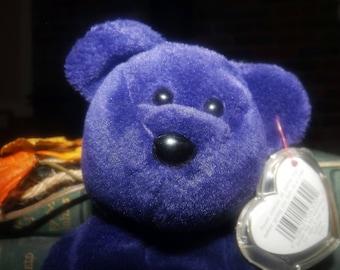 Vintage (1997) Princess The Bear | Princess Diana plush TY beanie baby. Indonesia. PVC Pellets.