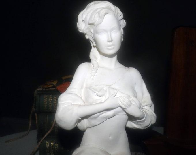 Vintage (1990) signed Emilio Casarotto statue | figurine. Capodimonte style by ADL studios on black stand w/metal plaque, original tags