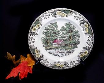 Mid-century Royal China Fairoaks | Fair Oaks dinner plate made in USA. Minuscule flaw (see below).
