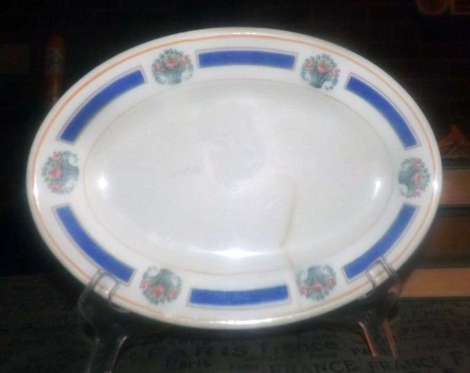 Buffalo China art-deco sweetmeats | relish dish made for the Mayflower Hotel Washington DC. Vitrified hotelware.