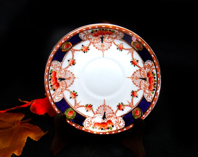 Antique (1920s) Thomas Forester & Sons Phoenix China Darby orphaned saucer. Art deco imari pattern made in England.