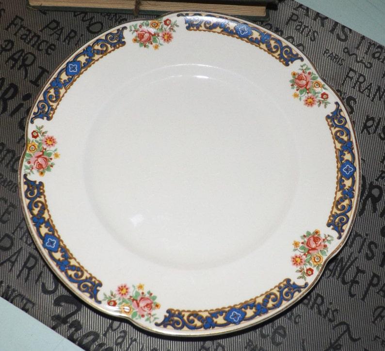 1913 Johnson Brothers Corfu JB967 luncheon Antique Blue scrolls multicolor flowers scalloped gold edge. breakfast plate