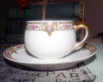 Antique (1890) A. Lanternier Co   Lanternier Limoges LNT103 hand-painted tea set (flat cup with saucer) Pink roses, art-nouveau flourishes