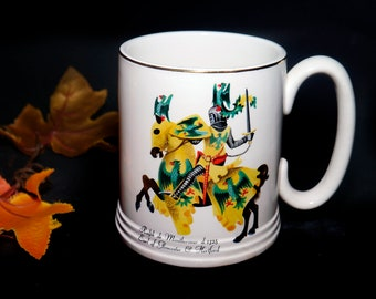Vintage (1960s) Lord Nelson Pottery Heraldic stein | tankard featuring Ralph de Monthermer Earl of Gloucester and Hertford. Made in England.