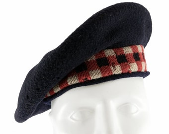 Early mid century (1946) Military Basque Fleur de Lis Pure Wool beret made in Canada by Dorothea Knitting Mills. Size Medium.