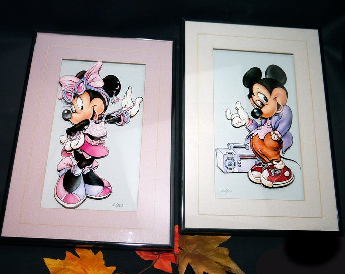 Pair of vintage (1993) Mickey and Minnie Mouse 3D framed signed original pieces of art by Canadian multimedia artist Darlene Abela.