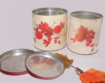 Pair of mid century National Can Corporation | NC Colorware metal canisters with lids. Rustic farmhouse hand-painted fruit berries. Made USA