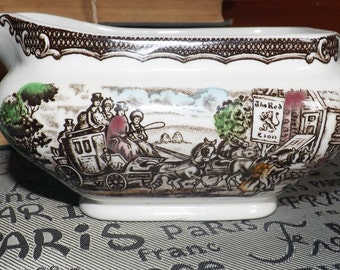 Mid-century (1950s) Wood & Sons The Post House Multicolor transferware ironstone gravy or sauce boat
