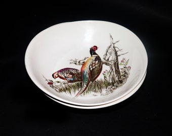 Vintage (1970s) Johnson Brothers Game Birds oval vegetable serving bowl made in England. Partridge bird. Sold individually.
