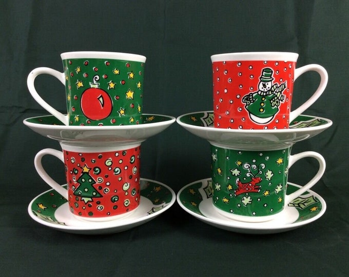 Gibson Designs Christmas Treasures cup and saucer set. Choice of Snowman, Ornament, Reindeer. Sold individually.