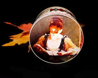 Mid-century Murray Allen Confections Old Masters round candy tin | tea canister. Jeune Fille by Jean Raoux. Tin made in England.