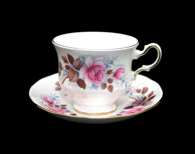 Vintage (1970s) Queen Anne 8521 pink roses tea set made in England. Gold accents.