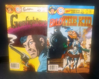 Pair of vintage (1980s) Charlton Comics Billy the Kid #134 and Gunfighters #59 comic books   graphic novels. Printed in the USA.
