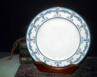 Antique (1890s)  New Wharf Pottery Devon hand-painted semi-porcelain dinner | luncheon plate. Teal and gold scrolls and florals.