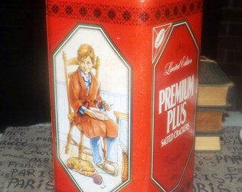 Vintage (1991) Christies Premium Plus Crackers limited-edition tin. Children with pets | dogs. Great utensil holder for the kitchen.