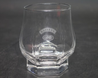 Vintage (1980s) Bailey's Irish Cream multi-sided lo-ball   cocktail glass. Etched-glass Bailey's name and logo, weighted base.
