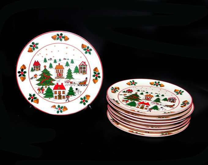 Vintage (1980s) Christmas Pleasure | JAP97 salad or side plate made by Fine China of Japan. Sold individually.