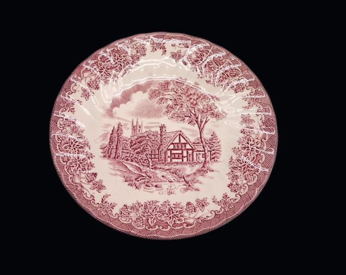 Vintage (1982) Myott The Brook Pink | Red transferware bread, dessert, side plate made in England.