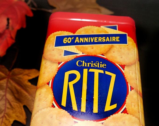 Vintage (1995) Ritz Crackers 60th Anniversary Tin. Vintage Ritz advertising. Great kitchen decor | storage. Canadian English | French tin.