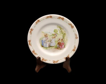 Vintage (1988) Royal Doulton Bunnykins child's plate. Bunnies getting ice cream. Made in England.