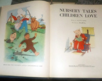 Vintage (1933) Nursery Tales Children Love hardcover children's book. Platt & Munk, Edited by Watty Piper. Printed, bound in USA.