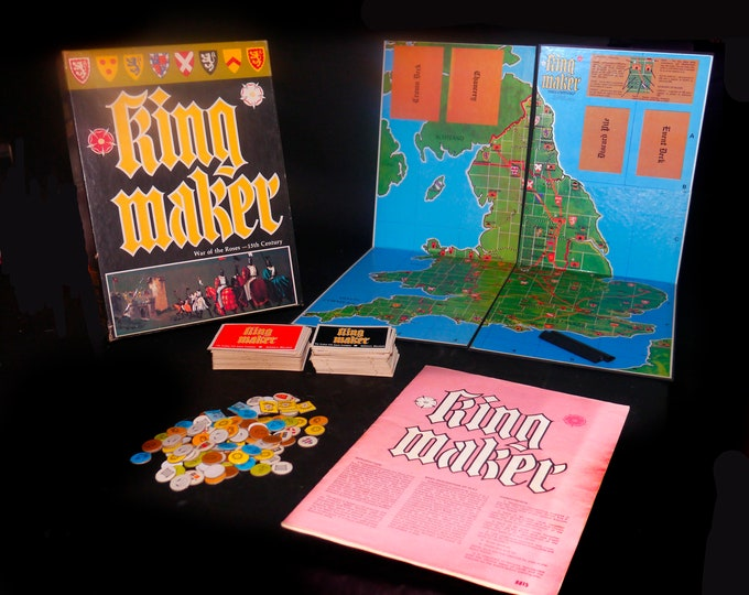 Vintage (1976) King Maker historical military board game. Avalon Hill. War of the Roses 15th Century England. First edition. Complete.