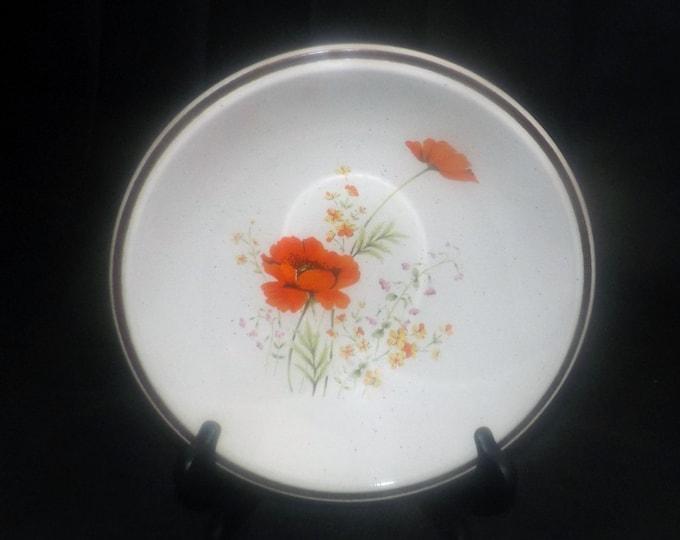 Vintage (1970s) Haniwa Stone Fleur d'Ete round rimmed vegetable serving bowl. Vintage stoneware made in Japan.