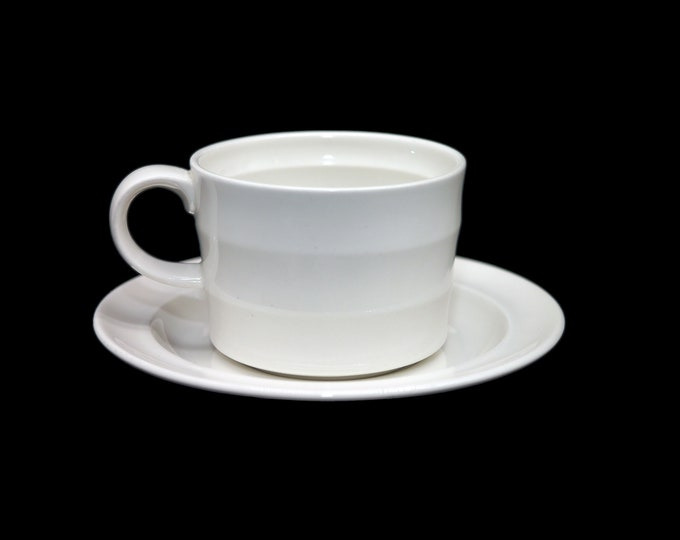 Johnson Brothers Nova Rimmed all-white coffee can and saucer   cup and saucer set made in England. Sets sold individually.