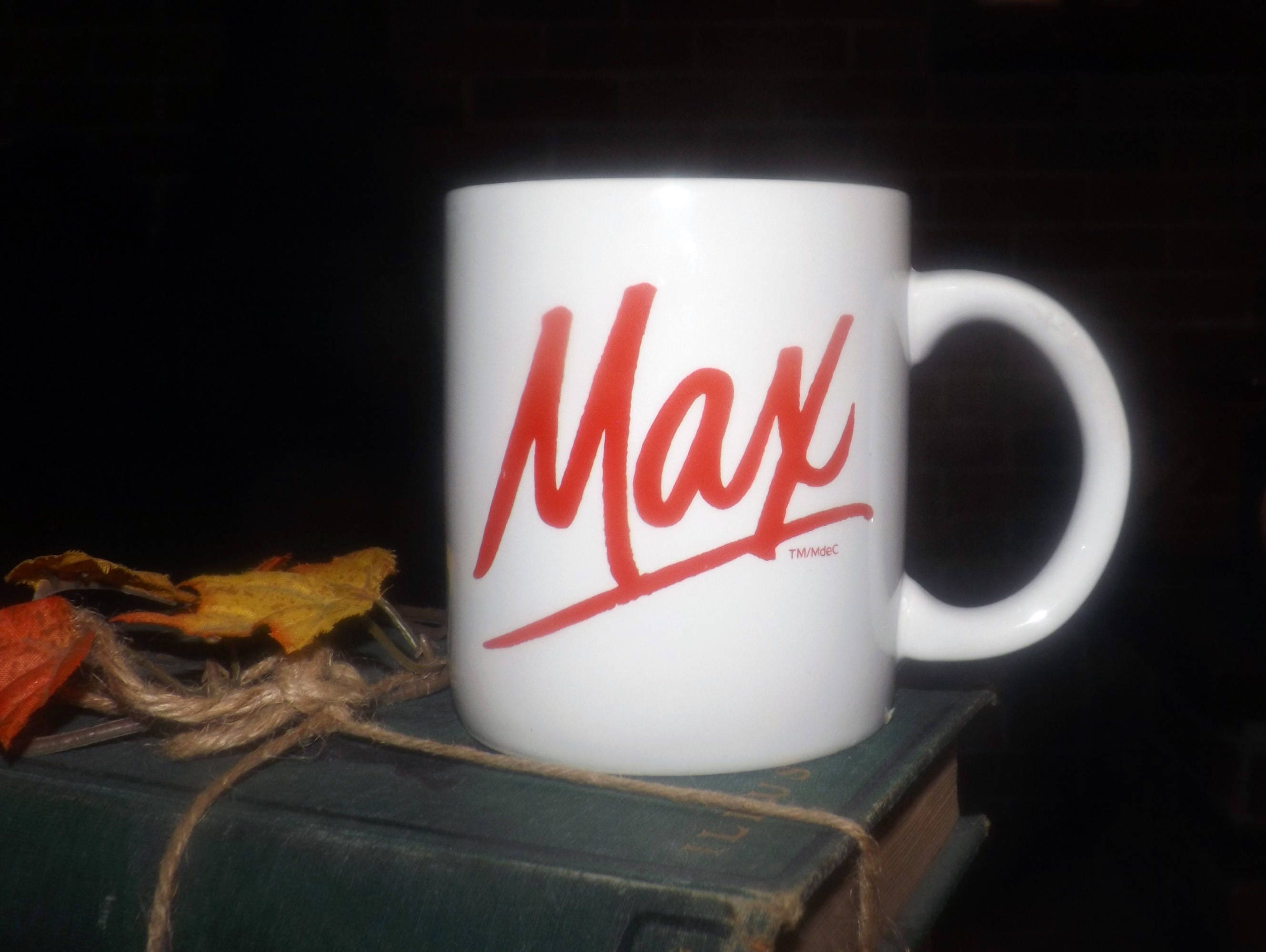 Vintage 1980s Maxwell House Max Coffee Or Tea Mug White Stoneware Mug With Red Max Logo On One Side Festival Stoneware Korea