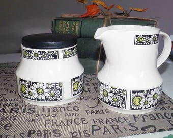 Retro vintage (1970s) Johnson Brothers Samba flower-power creamer and covered sugar bowl set made in England.