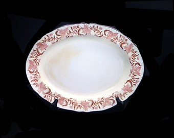 Mid century Grosvenor Bone China Rhapsody oval meat or large vegetable serving platter made in England.  Flaw (see below).