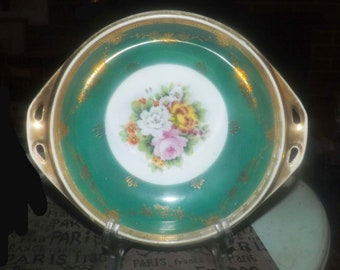 Antique (1911-1919) Noritake Morimura hand-painted Nippon handled serving bowl. Central flowers, brushed gold, moriage filigree.