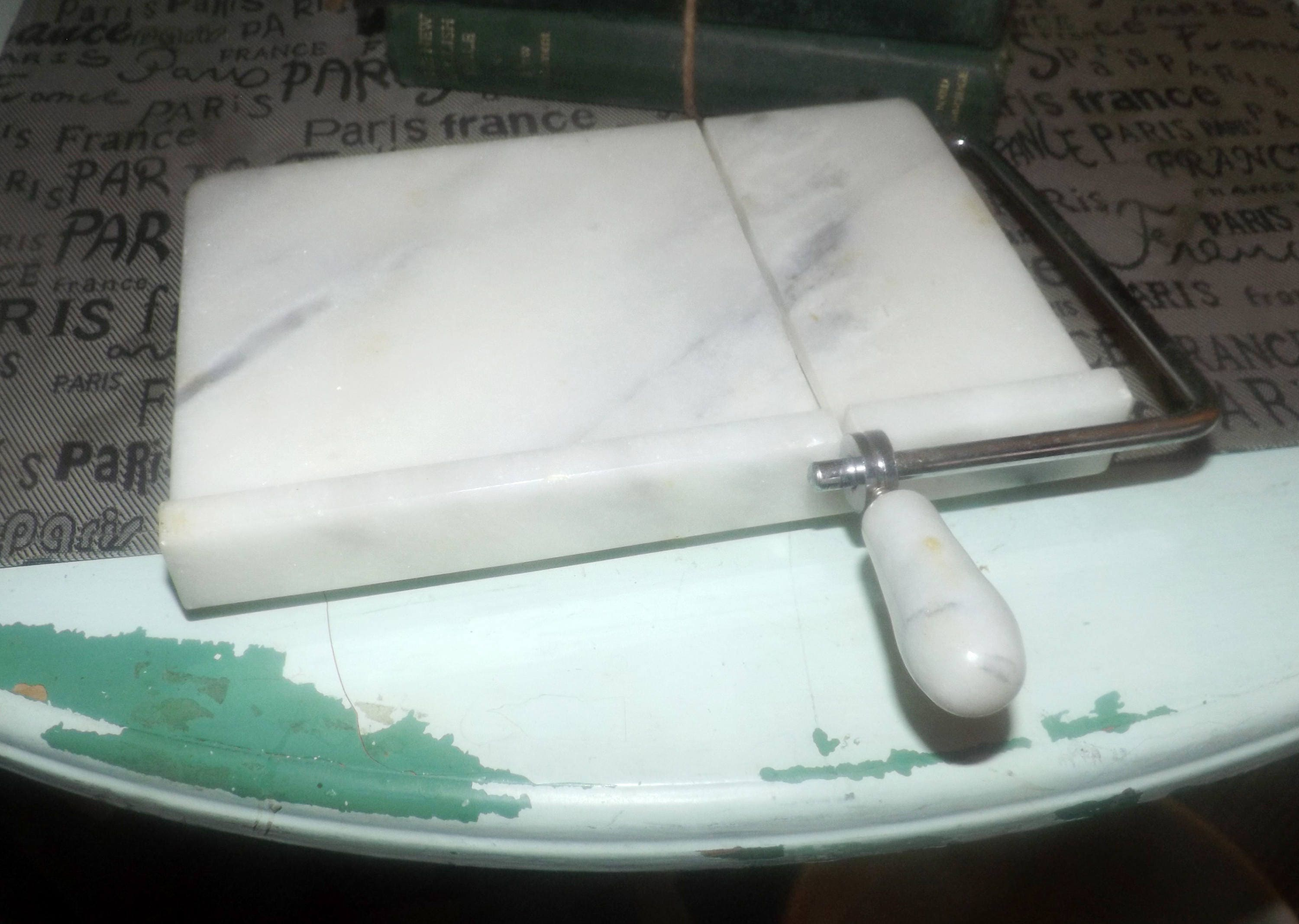 Vintage (early - mid 1980s) solid marble cheese board and in-built ...