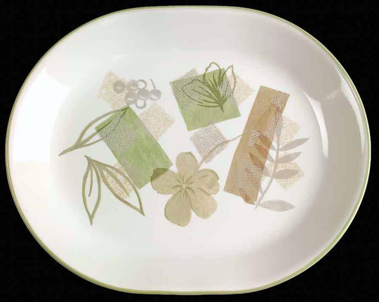 Corelle | Corning Textured Leaves pattern oval platter. Green, tan ...