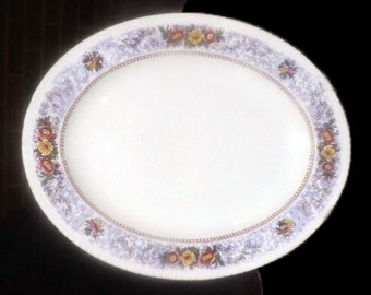 Almost antique (1920s) George Jones   Crescent Pottery The Windsor hand-painted oval vegetable serving platter. Purple florals.
