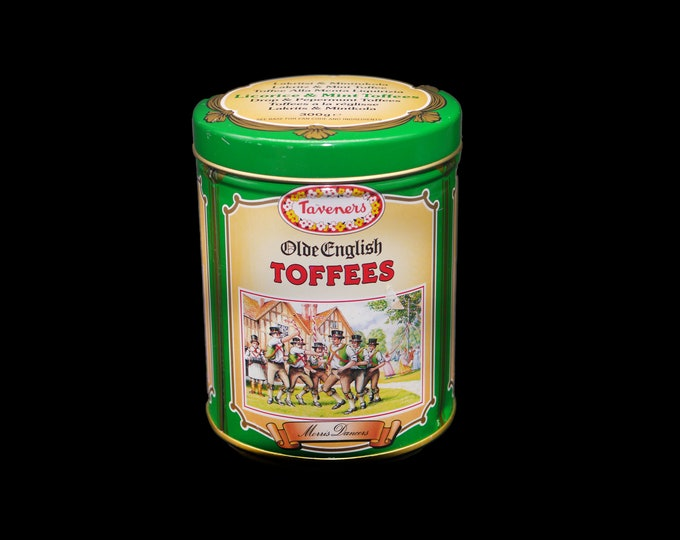 Vintage (1980s) Tavener's Olde English Toffees tin made in England. Originally held 300g Licorice and Mint toffees