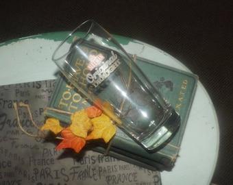 Vintage Sleeman Original Draught beer pint glass.  Etched-glass branding.