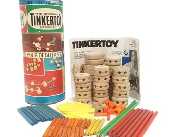 Vintage (1980s) Classic Tinkertoy 60-piece Wooden Construction Starter Set. Made in USA.