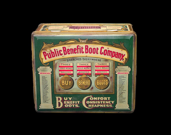 Vintage (1960s) reproduction tin Public Benefit Boot Company. Tin made in England. Flaws (see below).