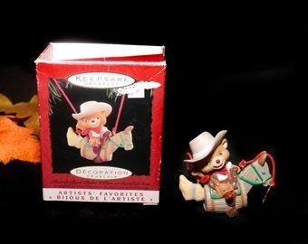 Vintage (1995) Hallmark Keepsakes Christmas Tree Ornament Barrel-back Rider by John Francis. Teddy on Play Horse. Original box.