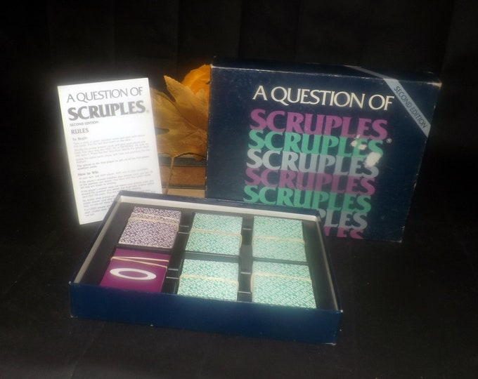 Vintage (1986) A Question of Scruples second edition board game published by High Game Enterprises. Complete.
